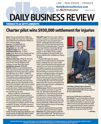 Charter Pilot settles with Toy Distributor